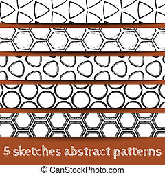 Set of sketches geometric seamless patterns