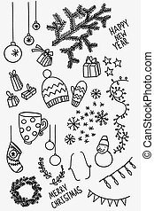 Set of sketchy doodle winter elements