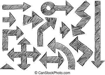Set of Sketchy Hatched Arrows Doodles