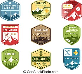 Set of Ski Club, Patrol Labels. Vintage Mountain winter camping explorer badges. Outdoor adventure logo design. Travel hand drawn and hipster color insignia. Snowboard icon symbol. Wilderness. Vector