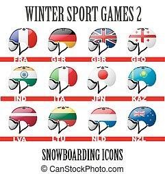 Ski snowboard helmets goggles icons