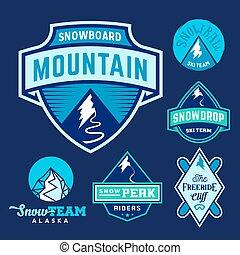 Set of Ski Snowboard Snow Mountains Sport Logos or Vintage Labels, Colorful on Blue Background