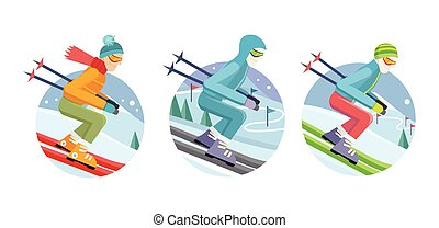 Set of Skier Man Vector Icons in Flat Design