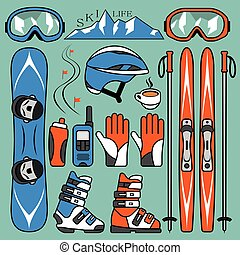 Set of skiing and snowboarding