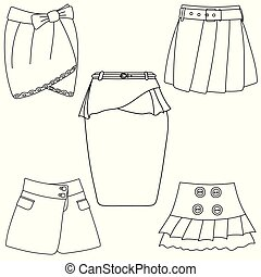 Set of skirts on white background
