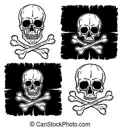 Set of Skull and Crossbones isolated over white background....