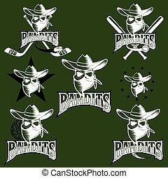 set of skull bandit sports labels