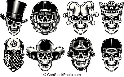 Set of Skull Characters Isolated on White Background - fully...