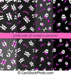 Set of skull seamless patterns