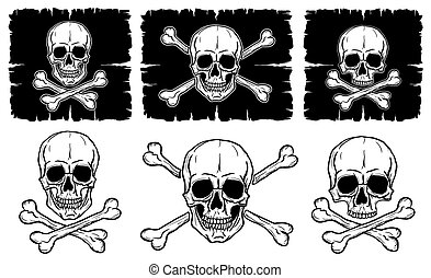 Set of Skulls and Crossbones isolated over white background....