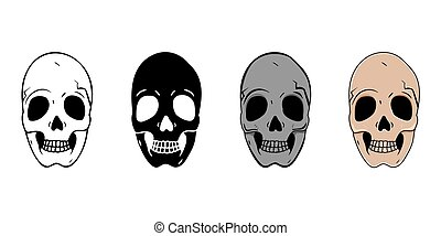 Set of skulls in different styles isolated on white background.