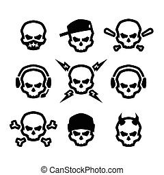 Set of skulls logo, symbol, sign.