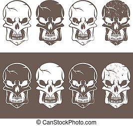 set of skulls vector design template illustration
