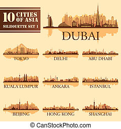 Set of skyline cities silhouettes. 10 cities of Asia 1