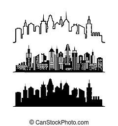 Set of skyscraper sketches. City architect design. Vector illustration