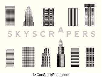 Set of Skyscrapers Simple Cartoon Picture for Design