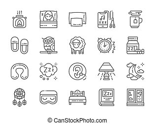 Set of Sleep Line Icons. Aroma Lamp, Bed, Pillow, Headphone, Hot Tea and more.