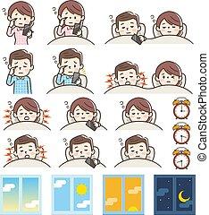 Set of sleeping and awakening and snoring