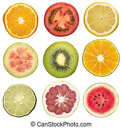 set of sliced fruit