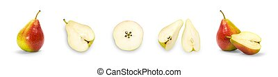Set of sliced pears. Close up. Isolated on a white background