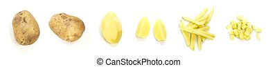 Set of sliced potatoes. Close up. Isolated on a white background