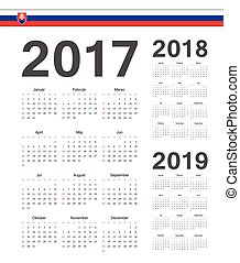 Set of simple Slovak 2017, 2018, 2019 year vector calendars. Week starts from Sunday.