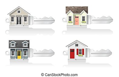 Set of small house keys isolated on white background 2