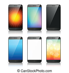 Set of smart phone screen vector - Set of smart phone with...