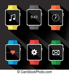 Set of smart watch icon. vector illustration