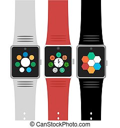 Set of smart watches with icons. Flat concept. Vector illustration