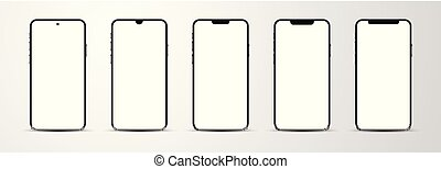 Set of smartphone mockup with blank white screen.