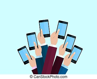 Set of smartphones. Journalism concept, Mass Media, TV, Interview, Breaking News, press conference concept. smartphones. in reporter hands.