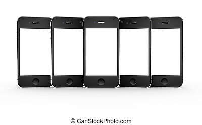 Set of smartphones - Set of five smartphones isolated on a...