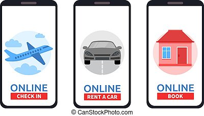 Set of Smartphones with online check, rent a car, book room. Concept of mobile application. Travel, Business flights worldwide