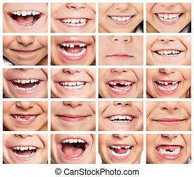 Set of smiles - Faces of smiling children. Set of kids...