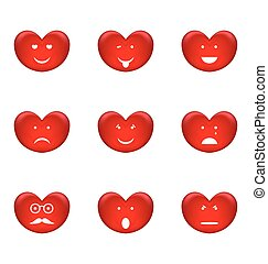Set of smiles of heart shape with many emotions, isolated on white background