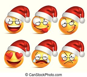 Set of Smiley face of santa claus yellow emoticons