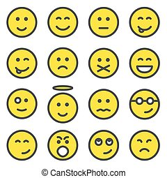 Set of smiley faces