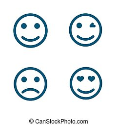 Set of smiley icons with different emotions. Vector Illustration