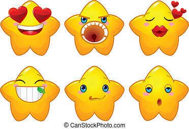 Set of smileys stars
