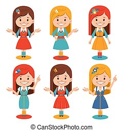 Set of smiling girls in different poses. Cute character for animation, presentation, banners, posters