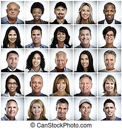 Set of smiling people face.