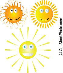 Set of smiling suns