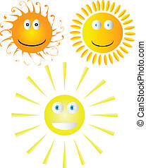 Set of smiling suns