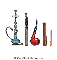 Set of smoking accessories - hookah, cigarettes, cigar and pipe