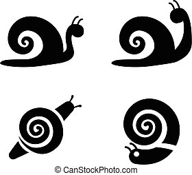 Set of snail icons in silhouette style, vector