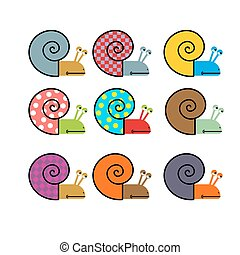 Set of snail with colored shell. Vector illustration