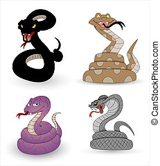 Conceptual Creative Design Art of Set of Scary Halloween Snakes Vectors