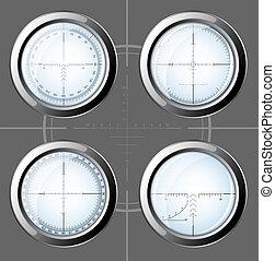 Set of sniper scopes over grey background.