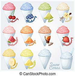 Set of snow cones, shaved ice. - Set of snow cones with ...